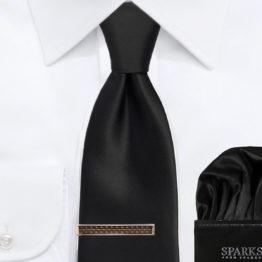 JOHN SPARKS Black – Tie + Pocket Square + Tie Bar