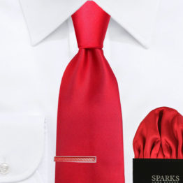 JOHN SPARKS Red – Tie + Pocket Square + Tie Bar