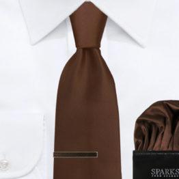 JOHN SPARKS Chocolate – Tie + Pocket Square + Tie Bar