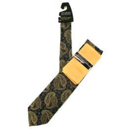 JOHN SPARKS YELLOW & BLACK – Tie + POCKET SQUARED2 + Tie Bar 3913