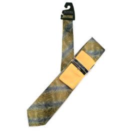 JOHN SPARKS YELLOW & GREY – Tie + POCKET SQUARED2 + Tie Bar 3914