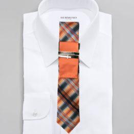 JOHN SPARKS ORANGE – Tie + POCKET SQUARED2 + Tie Bar 3917