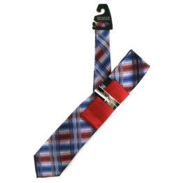 JOHN SPARKS BLUE – Tie + POCKET SQUARED2 + Tie Bar 3919