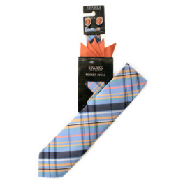 JOHN SPARKS ORANGE & LIGHT BLUE – Tie + POCKET SQUARED2 + Cufflinks 3941