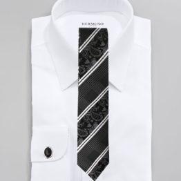 JOHN SPARKS BLACK – Tie + POCKET SQUARED2 + Cufflinks 3952