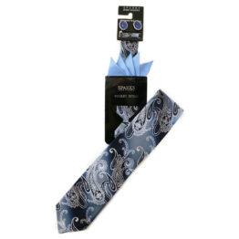 JOHN SPARKS BLUE – Tie + POCKET SQUARED2 + Cufflinks 3954XL