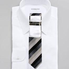 JOHN SPARKS White & GREY – Tie + POCKET SQUARED2 + Tie Bar 4167