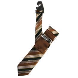 JOHN SPARKS Brown & Black – Tie + POCKET SQUARED2 + Tie Bar 4179