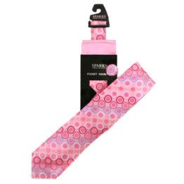 JOHN SPARKS Pink – Tie + POCKET SQUARED2 + Lapel Button 4311