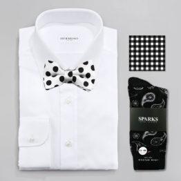 John Sparks Socks & BowTie & Pocket Square - Black & White 7385