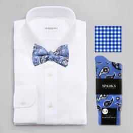 John Sparks Socks & BowTie & Pocket Square - Dark Blue 7379