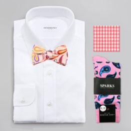 John Sparks Socks & BowTie & Pocket Square - Pink 7383