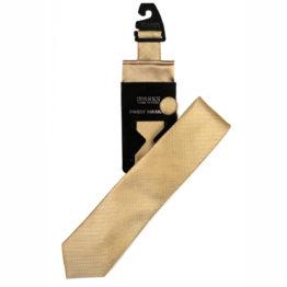 JOHN SPARKS Gold – Tie + POCKET SQUARED2 + Lapel Button 4075