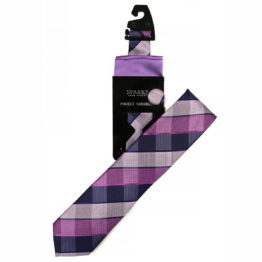 JOHN SPARKS Purple – Tie + POCKET SQUARED2 + Lapel Button 4078