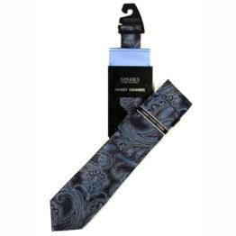 JOHN SPARKS Navy – Tie + POCKET SQUARED2 4084
