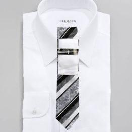 JOHN SPARKS White & Black – Tie + POCKET SQUARED2 + Tie Bar 4168