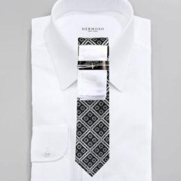 JOHN SPARKS Black & White – Tie + POCKET SQUARED2 + Tie Bar 4169
