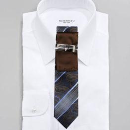 JOHN SPARKS Navy & Brown – Tie + POCKET SQUARED2 + Tie Bar 4177