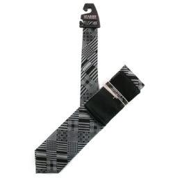JOHN SPARKS Black – Tie + Pocket square2 + Tie Bar 4619