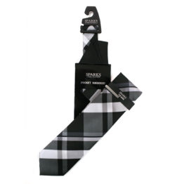 JOHN SPARKS Black – Tie + Pocket square2 + Tie Bar 4631