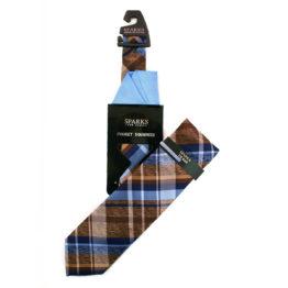 JOHN SPARKS Blue – Tie + Pocket square2 + Tie Bar 4633