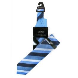 JOHN SPARKS Blue – Tie + Pocket square2 + Tie Bar 4634