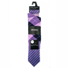 John Sparks Socks & Tie & Pocket Square - Purple 7552