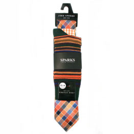 John Sparks Socks & Tie & Pocket Square - Brick 7557