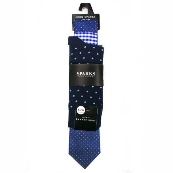 John Sparks Socks & Tie & Pocket Square - Light Blue 7558