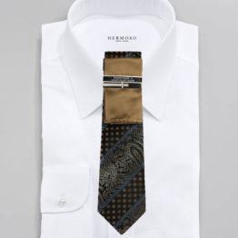 JOHN SPARKS Brown – Tie + POCKET SQUARED2 + Tie Bar 3441