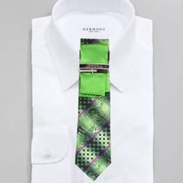 JOHN SPARKS Green – Tie + POCKET SQUARED2 + Tie Bar 3442