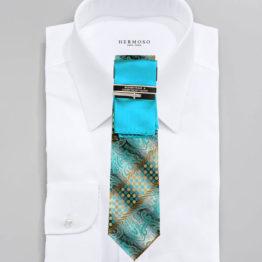 JOHN SPARKS AQUA BLUE – Tie + POCKET SQUARED2 + Tie Bar 3444