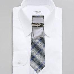 JOHN SPARKS Grey – Tie + POCKET SQUARED2 + Tie Bar 3445