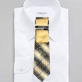 JOHN SPARKS Light Yellow – Tie + POCKET SQUARED2 + Tie Bar 3446