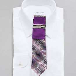 JOHN SPARKS Purple  – Tie + POCKET SQUARED2 + Tie Bar 3447
