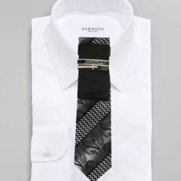 JOHN SPARKS Black – Tie + POCKET SQUARED2 + Tie Bar 3448