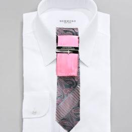 JOHN SPARKS Pink  – Tie + POCKET SQUARED2 + Tie Bar 3449