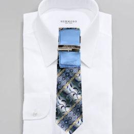 JOHN SPARKS Blue  – Tie + POCKET SQUARED2 + Tie Bar 3451