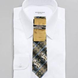 JOHN SPARKS Gold – Tie + POCKET SQUARED2 + Tie Bar 3452