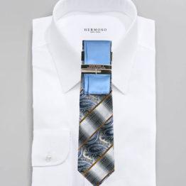 JOHN SPARKS Blue – Tie + POCKET SQUARED2 + Tie Bar 3453