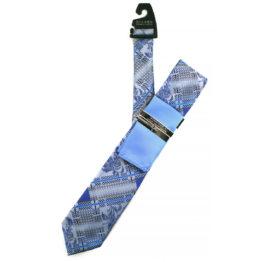 JOHN SPARKS Blue  – Tie + POCKET SQUARED2 + Tie Bar 3904