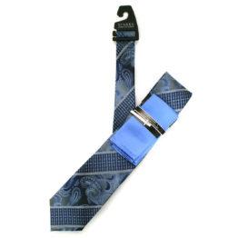 JOHN SPARKS Blue  – Tie + POCKET SQUARED2 + Tie Bar 3905