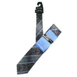 JOHN SPARKS Blue – Tie + POCKET SQUARED2 + Tie Bar 3906