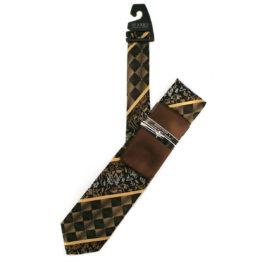 JOHN SPARKS Dark Brown – Tie + POCKET SQUARED2 + Tie Bar 3907