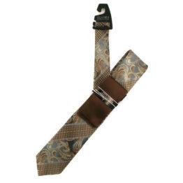 JOHN SPARKS Grey & Brown – Tie + POCKET SQUARED2 + Tie Bar 3908