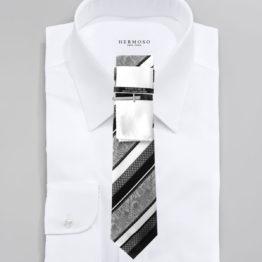 JOHN SPARKS Black & White  – Tie + POCKET SQUARED2 + Tie Bar 3910