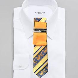 JOHN SPARKS Yellow – Tie + POCKET SQUARED2 + Tie Bar 3915