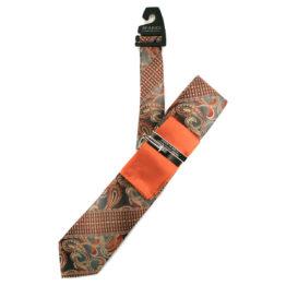 JOHN SPARKS Orange – Tie + POCKET SQUARED2 + Tie Bar 3916