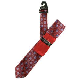 JOHN SPARKS RED – Tie + POCKET SQUARED2 + Tie Bar 3918