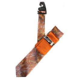 JOHN SPARKS Orange  – Tie + POCKET SQUARED2 + Tie Bar 4172